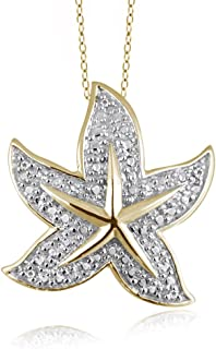 1/20 Carat T.W. White Diamond 14kt Gold Over Silver Starfish Pendant