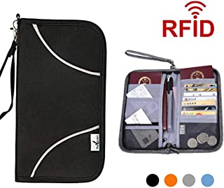 f38cd5d592b2 Travel Passport Wallet for Men Women,Welegant RFID Blocking Passport Holder  Travel Wallet Document Organizer Case (S1, Black)