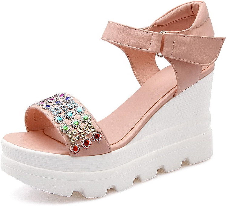 AllhqFashion Women's Open Toe Hook and Loop Pu Studded High Heels Sandals