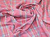 Lady McElroy Tweed Karomuster Stoff Pink Multi –