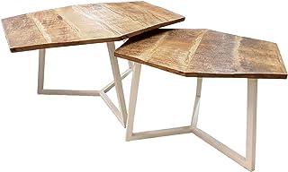 casamia Couchtisch Set 2 Stück Wohnzimmer Tisch Satztisch Paris Metall-Gestell schwarz oder weiß Farbe reinweiß - Tabacco