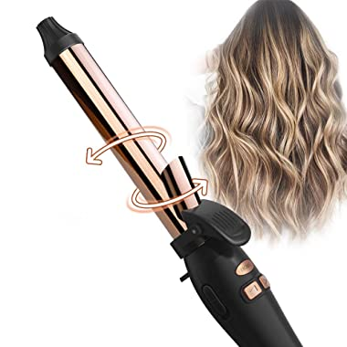 TYMO Wavy Rotating Curling Iron - 1  Titanium Auto Curling Iron with Anti-Stuck Design, Professional Hair Curling Iron with 7 Adjustable Temps, Anti-Scald & Universal Voltage, Ideal for Beach Wave