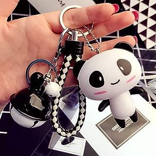 Cartoon Panda Car Keychain, Creative Woven Rope Key Chain Bag Keyring Pendant Accessory Bag Charm w/Bell Best Birthday Gift for Men and Women (Panda)