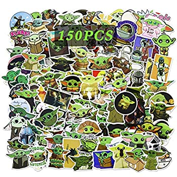 150PCS Baby Yoda Stickers Mandalorian Sticker Star Wars Vinyl Waterproof Stickers Variety Pack for Backpack Luggage Computer Skateboard Car Motorcycle Pencil Case Decal for Teens Adults