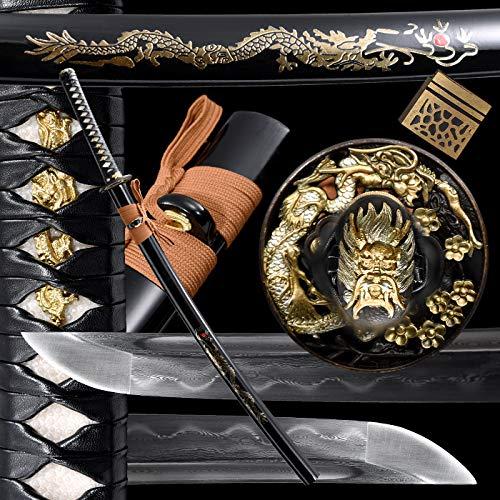 Handmade Real Samurai Sword Katana Damascus Sword/1095 Damascus Folded Steel Heat Tempered/Clay...