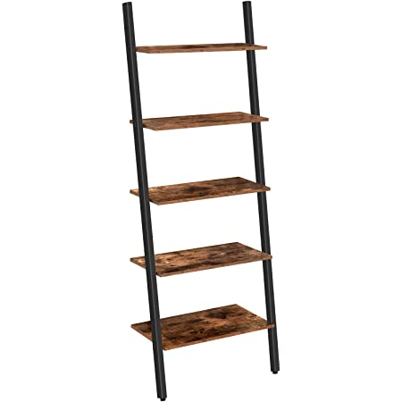 Iron Storage Rack Shelves Kitchen Office for Living Room Sloping Industrial Ladder Shelf Stable Rustic Brown Leaning Against The Wall 4-Tier Bookshelf