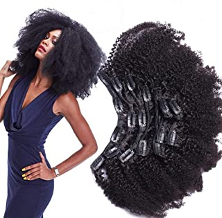 Morningsilkwig Afro Kinky Curly Clip Extensiones De Cabello Humano Nautral Black Clip Plena Cabeza 8 pcs/set Brazilian Remy Hair Clip 120g (18inch/45cm 8pcs/120g, Negro)