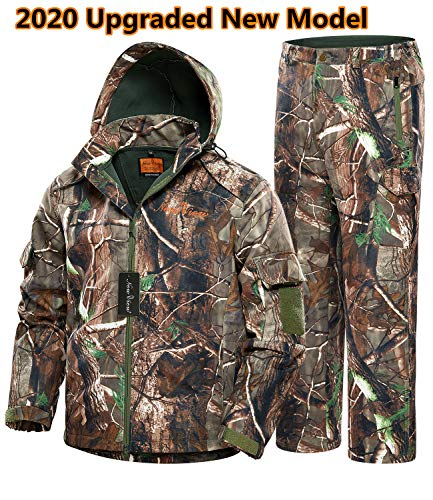 NEW VIEW Hunting Jacket Silent Water Resistant Hunting Camouflage Hooded for Men,Hunting Suit (Upgraded Camo Tree, XXL)