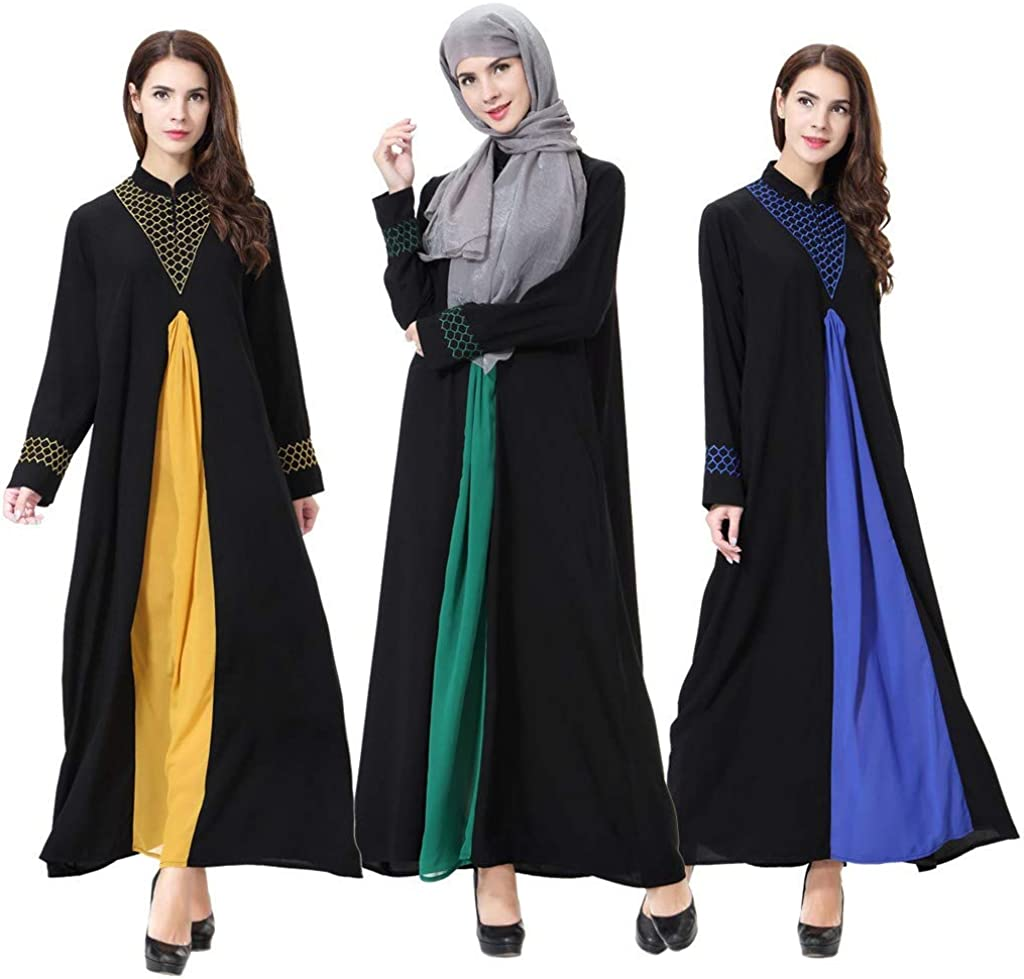 Robe Musulmane Femme Grande Taille,Women's Long-Sleeved Fashion Boutique Print Dress Muslim Robes Islamique Abaya Kaftan VêTements Islam Jupe SoiréE Caftan Jalabiya Partie C-or