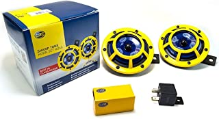 HELLA H31000001 Sharptone 12V High Tone / Low Tone Twin Horn Kit with Yellow Protective Grill, Includes Relay, 2 Horns,Yel...