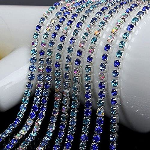 L2S 10M Crystal Rhinestone Chain Silver 2.8 Base Cheap SALE Start 2 2.5 3mm Excellent Claw