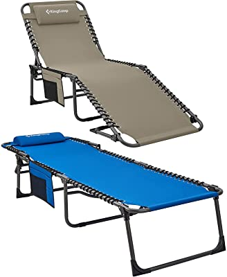 KingCamp 4-Fold Grey + Blue Folding Outdoor Chaise Lounge Chair for Beach, Sunbathing, Patio, Pool, Lawn, Deck, Portable Lightweight Heavy-Duty Adjustable Camping Reclining Chair with Pillow