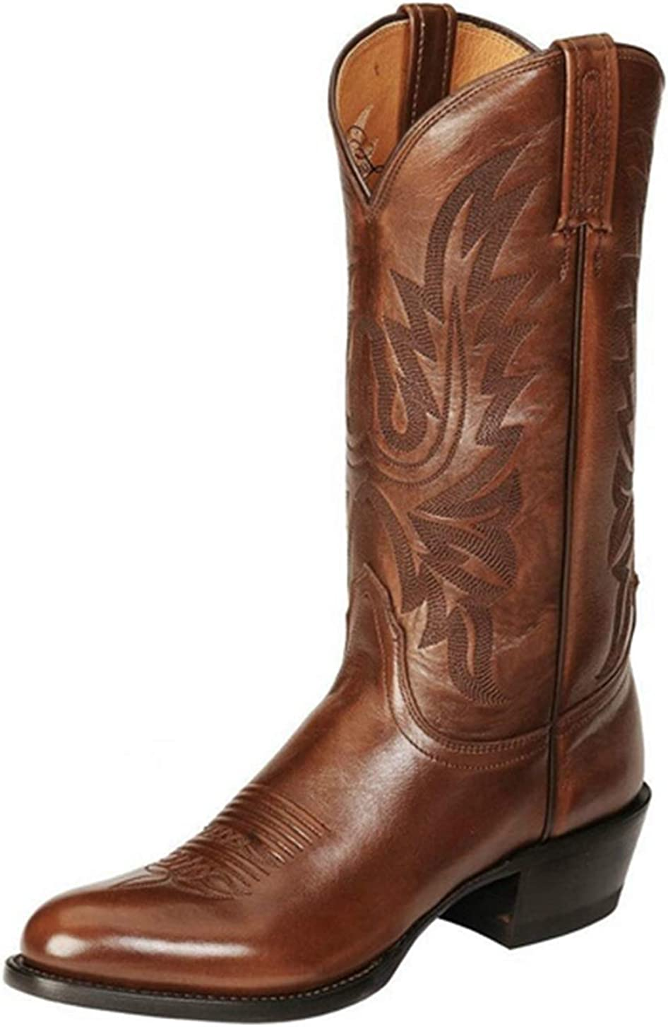 heelchic Women's Retro Western Cowboy Boots Men's Big Size Embroidered Mid Calf Chunky Heel Boots