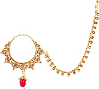 Exquisite Tone Bridal Design Indian Bollywood Wedding Ware Kundan Studded Red Stone Gold Plated Traditional Nose Rings with Chain NosePin Indian Traditional Jewelry for Women From Yellow Chimes