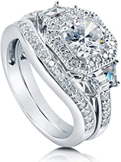 BERRICLE Rhodium Plated Sterling Silver Round Cubic Zirconia CZ Art Deco Halo Engagement Wedding Ring Set 2.21 CTW