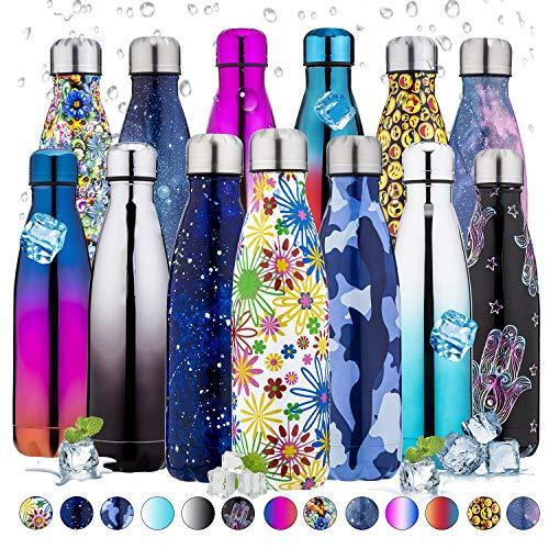 PX Home - Botella de agua de acero inoxidable de 500 ml | Termo de doble pared con aislamiento al vacío, para deportes al aire libre, camping, senderismo, ciclismo