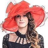 Pamela Ascot de organza para mujer, con amplia flor Rojo S601-Red Talla única