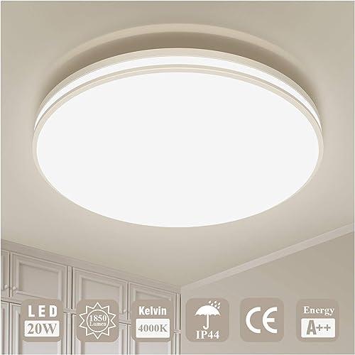 Plafonnier LED Luminaire Salle de Bain Lampe Plafond Öuesen 20W 1850LM IP44 4000K Blanc Naturel Brillant Moderne Plaf...