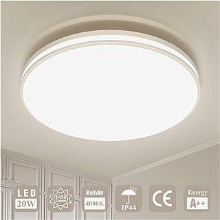 Plafonnier LED Luminaire Salle de Bain Lampe Plafond Öuesen 20W 1850LM IP44 4000K Blanc Naturel Brillant Moderne Plafonnie...
