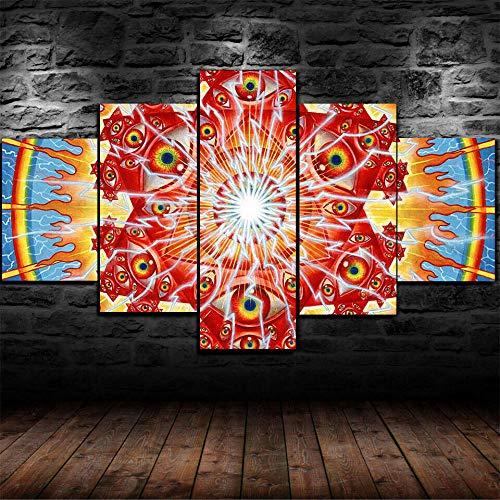 GSDFSD Cuadros Modernos Impresión De Imagen Artística Digitalizada | Lienzo Decorativo para Tu Salón O Dormitorio | Cristal De Visión Psicodélico | 5 Piezas 150X80Cm