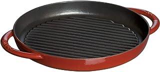 STAUB Pure Grill Doble asa Redondo, Hierro Fundido, Rojo Cereza, 26 cm