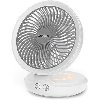 ANSOLO 卓上扇風機 扇風機 小型 USB 充電式 自動首振り USB扇風機 静音 壁掛け 超強風 強力 4000mAh ミニ扇風機 風量4段階調節 呼吸ランプ付き パワフル送風 折りたたみ可能 タッチパネル チャイルドロック機能付き 節電 一年保証付き ホワイト