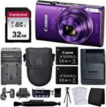 $189 » Canon PowerShot ELPH 360 HS Digital Camera (Purple) + Black Point & Shoot Case + AC/DC Travel Charger & Replacement Battery + Transcend 32GB UHS-I U1 SD Memory Card + Top Value Accessories!