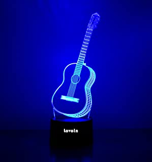 LovoIn Guitar 3D LED Night Light Lamp, 7 Colors Changing, Touch Switch,USB Charging,Gift for Kids Family Friends and Home Decoration