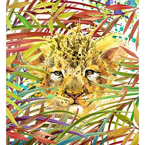 FENGZHU Pintura al óleo por números, para adultos, 40 x 50 cm, sobre lienzo, regalo pintado a mano, kit de pintura al óleo sin marco (leopardo)