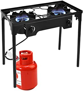 Goplus Outdoor Stove High Pressure Propane Burner Portable Gas Cooker Height Adjustable Legs Detachable Camping Cooking Stove w/Adjustable Regulator & Stand