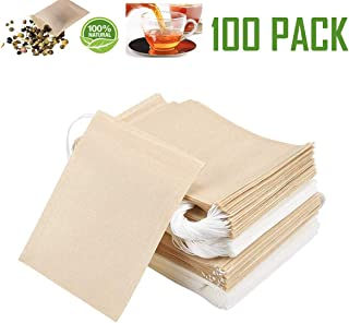 LGNTXDC 100Pcs Tea Filters Bags, Drawstring Teabags for Loose Leaf Tea, 50 White and 50 Tea-Brown Natural Biodegradable