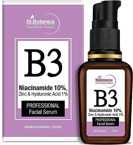 StBotanica B3 Niacinamide 10%, Zinc & Hyaluronic Acid 1% Professional Face Serum, 20 ml