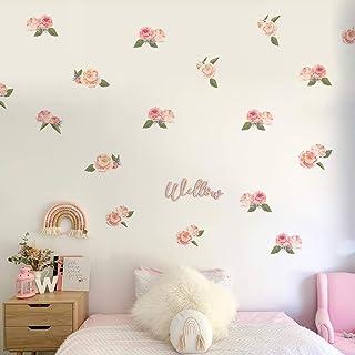 Runtoo Pegatinas de Pared Flores Stickers Adhesivos Vinilo Rosa Decorativas Infantiles Habitacion Bebe
