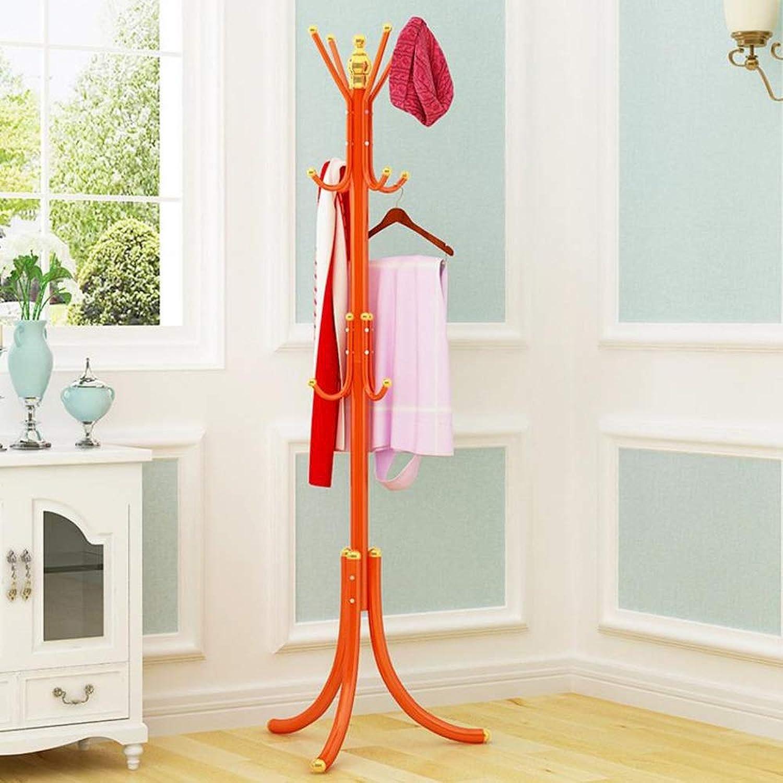 Coat Rack, Metal Coat Stands Standing Coat Racks with 12 Hooks, Hat Racks Hook Free Standing for Hallway Office Bedroom Closet (color   orange)