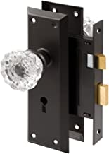 Prime-Line E 2497 Mortise Keyed Lock Set with Glass Knob – Perfect for Replacing Antique Lock Sets and More, Fits Doors with 2-3/8