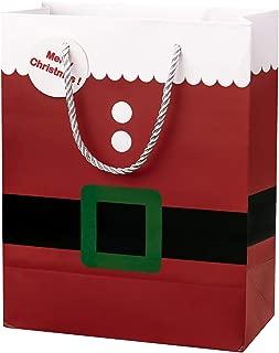 Crisky Merry Christmas Santa Claus Gift Bags, Deep Red, High Quality Medium Bags 12 Pcs, 10