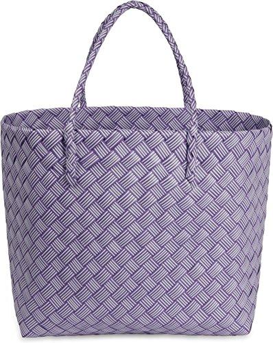 normani Einkaufskorb geflochten - wasserabweisend und robust Farbe Stripe Bonbon/Purple