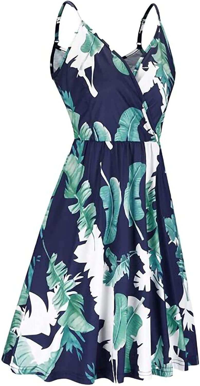 wodceeke Women's Pleated Swing Skirt, Floral Print Dress V Neck Sling Sundresses Sleeveless Strap Dresses With Pockets