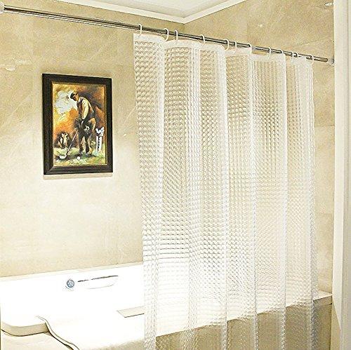 Diossad Duschvorhang 3D Transparent Wasserdichter Schimmelresistent PEVA Badvorhang Mit 12 Weißen Vorhangringen