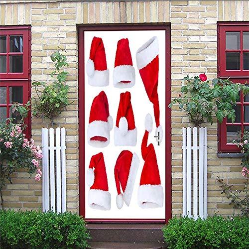 YIER LIFE™ 3D Türaufkleber für Innentüren Einfache weiße süße rote Weihnachtsmütze Foto gedruckt Selbstklebende Wandbilder wasserdichte Tür Aufkleber Vinyl Tür Wandmalereien Tür Tapete für S 88X200CM