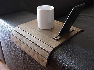 Mini tavolino laterale da bracciolo divano in legno con stand telefono e ebook reader personalizzabile wenge Piccolo vasso...