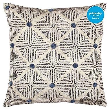 Stone & Beam Transitional Tufted Dot Diamond Pillow, 20  x 20 , Navy