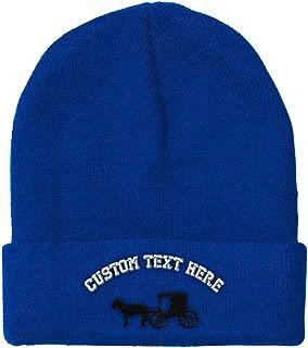 Custom Beanie for Men & Women Amish Buggy Embroidery Acrylic Skull Cap Hat