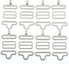 100 Sets Adjustable Bow Tie Hardware Clip Set, Metal Cravat Clip Hook Fastener for Necktie Strap (Silver)