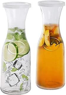 Estilo EST2095 Glass Beverage Pitcher Carafe with Plastic Lids, Narrow Neck Design, 1 Liter (33oz) Set of 2, Clear