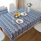 Mantel Estampado de Borde de Encaje de Lino Mantel Rectangular de decoración de Mesa de Centro 140x200cm Igual Que la Foto