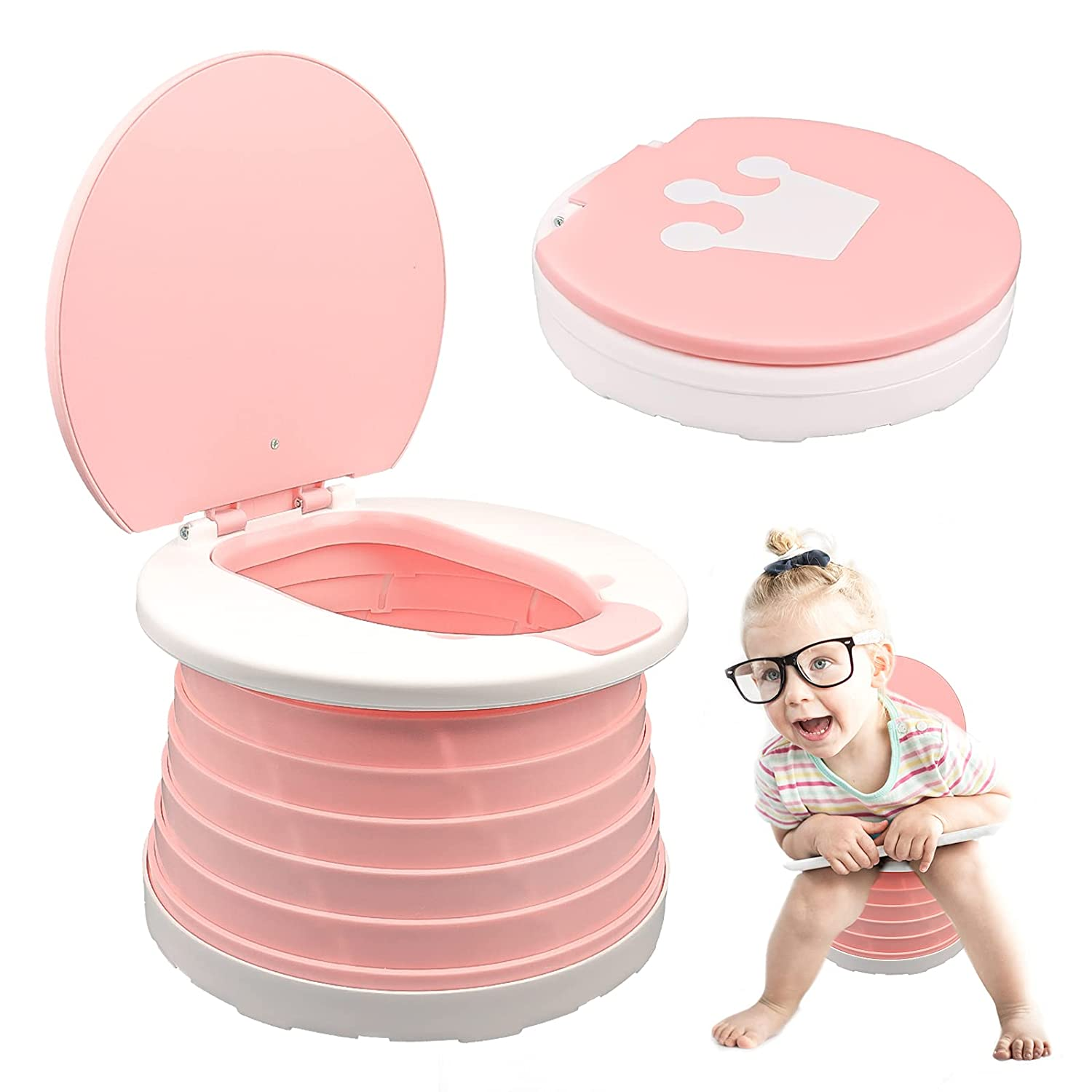 2-in-1 Portable Potty Trainer for Toddlers Foldable Travel Potty Training Seat Toilet for Toddlers Kids Car Travel Outdoor Picnic Camping with 15 Potty Liners (Pink)