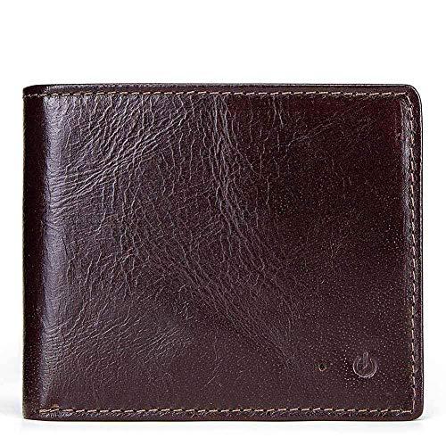 RANGE Cuero genuino Cartera de cuero de los hombres Corto Inteligente Bluetooth antirrobo Billetera Monedero triple (Color : Brown, Size : S)