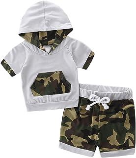 con Stampa Mimetica per Bambini da 0 a 24 Mesi Vestitino per Neonato con Cappuccio e Pantaloni DaMohony