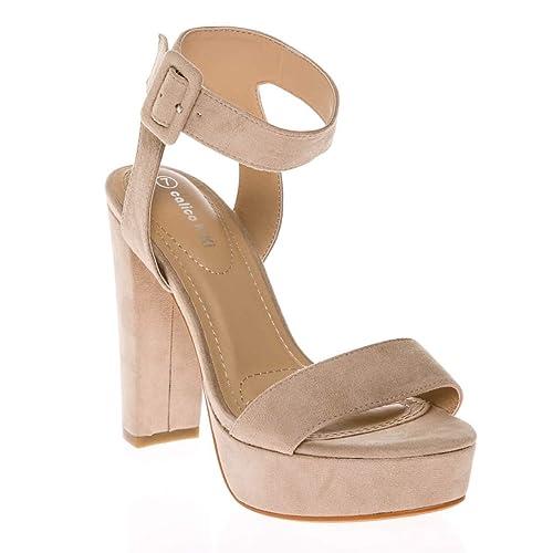fb68d53d59e CALICO KIKI Women s Shoes Buckle Ankle Strap Open Toe Chunky High Heel  Platform Dress Sandals